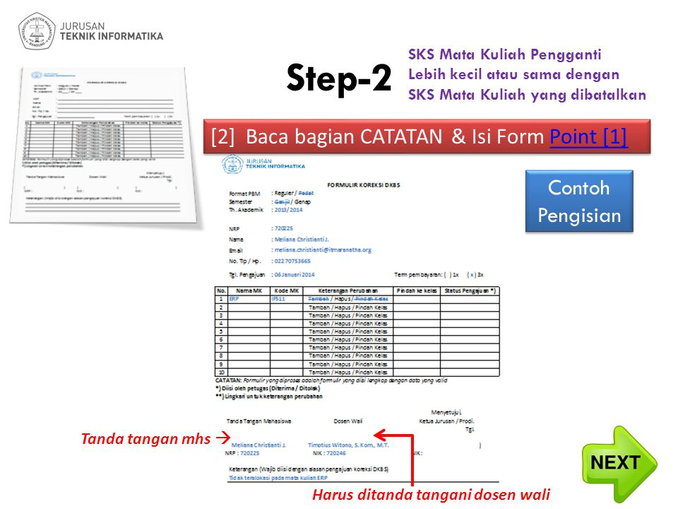 Step-2 [2] Baca bagian CATATAN & Isi Form Point [1] Contoh Pengisian